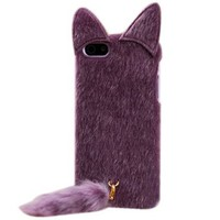 Cute 3D Plush Tail Cat TPU Case Cover Skin for iPhone 5 Purple