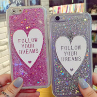 Glitter Hearts Follow Your Dreams iPhone Case