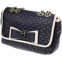 Betsey Johnson Black Be My Honey Buns Quilted Flap Over Satchel Bag
