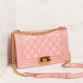 Sansa Blush Quilted Shoulder Handbag