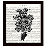 Dictionary Art Print 8 x 10 Victorian Cuckoo Clock with Eagle Vintage Decor