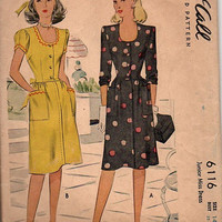 Vintage McCall 6116 Sewing Pattern 1940s Casual Tea House Day Dress WWII Fashion Square Neck Wide Shoulder Bust 32
