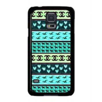 red hollister seagulls chanel sign hearts stripes for samsung galaxy s5 case