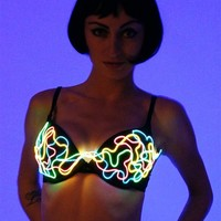 Electric Styles Drive Em' Crazy Light Up Bra : Girls EL Wire LED Bra from RaveReady
