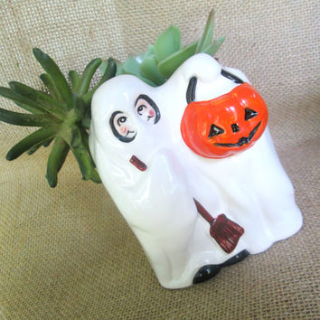 1970s Halloween Ghost Pumpkin Planter