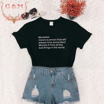 OKOUFEN KPOP korea style tumblr Monsta X streetwear t-shirt unisex Monbebe noun a person definition shirt casual tops tees black