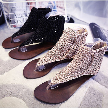 Free Shipping Women Trendy Roman Style Summer Shoes Genuine Leather Knitted Clogs Size 35~39