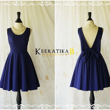A Party Angel Dress Navy Party Dress Backless Prom Dress Bow Back Cocktail Dress Navy Wedding Bridesmaid Dresses XS-XL