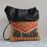 Coffee Bean Bag with Leather - Coffee Bean Bags - Burlap Bags
