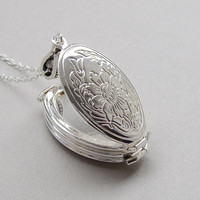 Silver locket necklace, 4 frame locket, folding four picture, floral oval locket, silver plated chain