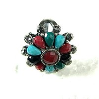 Anniversary Gift Vintage Style Ring Antique Slivertone Floral Women Fashion Jewelry