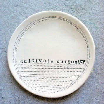 5 dish cultivate curiosity MADE TO ORDER by mbartstudios on Etsy