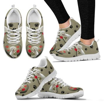 Valentine's Day Special-White Spanish Water Dog Print Running Shoes For Women-Free Shipping
