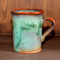 WOODSMAN MUG ~ Green Mug, Glazed Mug, Rustic Mug, Vintage Mug, Studio Pottery Mug, Tea Mug, Coffee Mug, Mountain Mug, Tea Gifts, Homewares