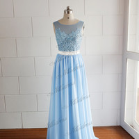 Blue Sheer Chiffon Lace Wedding Dress/Prom Dress V Back Dress