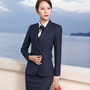 Female business suit office uniform style designs womens business suits office lady blazer with skirt set for work S-3XL