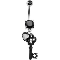 Black Gem Key to Your Heart Dangle Belly Ring | Body Candy Body Jewelry