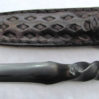 Hand made RAILROAD SPIKE DAGGER. Hand forged and includes handmade leather sheath.