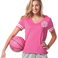 NEW! Monogrammed Varsity Jersey Shirt Hot Pink Short sleeve  Font shown MASTER CIRCLE in light pool