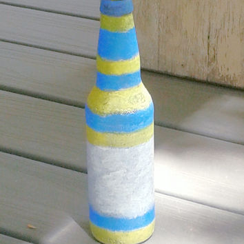Handpainted upcycled beer bottle vase