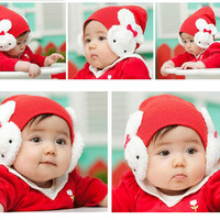 Super Cute Rabbit Embellished Earmuffs Hat For Babys