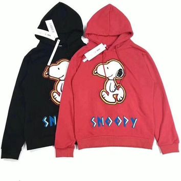 ESBON Snoopy' Fashion Casual Unisex Hoodie Letter Cartoon Dog Pattern Embroidery Long Sleeve Hooded Sweater Tops