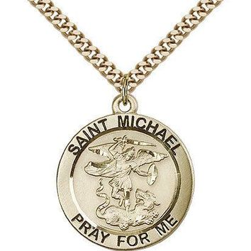 "Saint Michael The Archangel Medal For Men - Gold Filled Necklace On 24"" Chain... 617759576955"