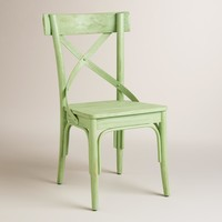 Light Green French Bistro Dining Chairs, Set of 2