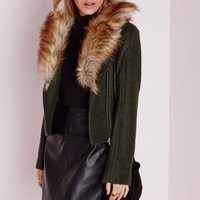 Missguided - Wool Biker Jacket with Faux Fur Collar Khaki