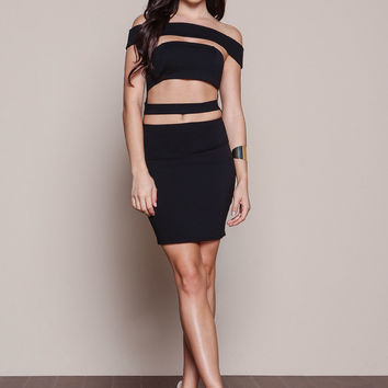 BLACK KYLIE CUT OUT PLUSH BODYCON DRESS