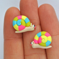 Neon Rainbow Snail Earrings - Handmade fun spring jewelry - Allergy free