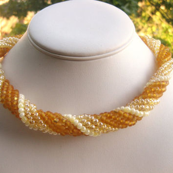 Amber imitation spiral rope necklace. Free shipping.