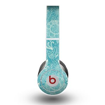 The Intricate Teal Floral Pattern Skin for the Beats by Dre Original Solo-Solo HD Headphones
