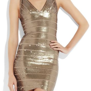 Posh Girl Gold Sequins V-Front Bandage Dress