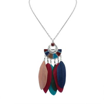 QCOOLJLY Ethnic Feathers Necklace exotic Design Fan sweaters necklaces & pendant Party Best Friends Jewelry Gifts Hot Selling