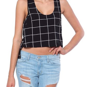 Bella Square Crop Top - Black/White