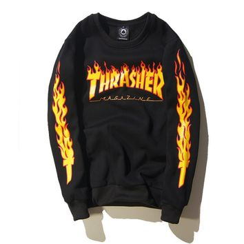 Thrasher new autumn and winter Couple flame jacket plus velvet sweater men and women