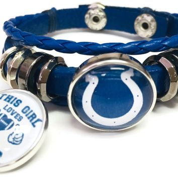NFL Logo Horseshoe This Girl Loves Indianapolis Colts Bracelet Blue Leather Football Fan W/2 18MM - 20MM Snap Charms New Item