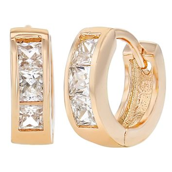 """Rose Gold Plated Clear Square CZ Huggie Hoop Earrings for Women 0.47"""""""