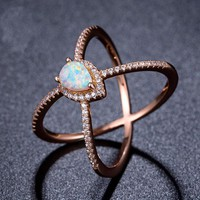 Mixed Metal Opal X Ring