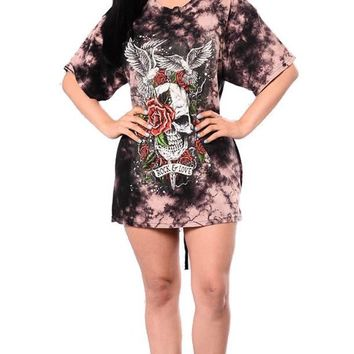 Skull Rose Floral Print High Street Tshirt Dress