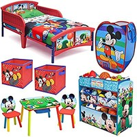 Disney Delta Children Mickey Mouse Clubhouse 8-Piece Furniture Set - Plastic Toddler Bed, Multi Bin Toy Organizer, Table and Chair set, 2-Pack Storage Cube and Pop Up Hamper