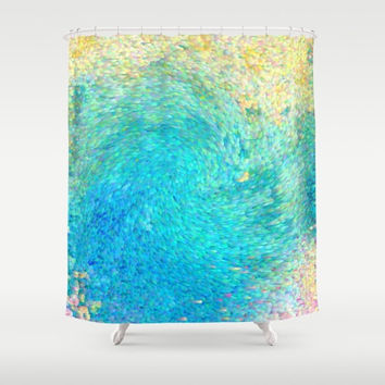 Artistic Shower Curtain - Coral Reef Shower curtain, ocean, Teal Aqua blue, ocean, island travel,  sea art coastal decor bath
