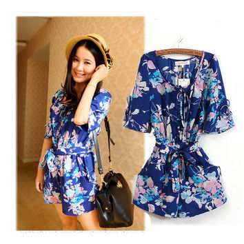 Floral Print Chiffon Short Sleeve Rompers