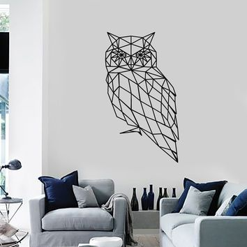 Polygonal Owl Vinyl Wall Decal Abstract Bird Geometrical Decor Art Stickers  Mural (ig5327)