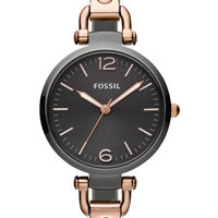 Fossil Georgia Three Hand Stainless Steel Watch – Smoke and Rose