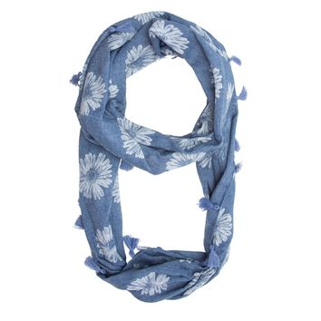 Blue Sunflower Infinity Scarf With Tassel