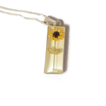 Pendant with Sterling Chain - Real Miniaturized Flower Preserved in Clear Resin