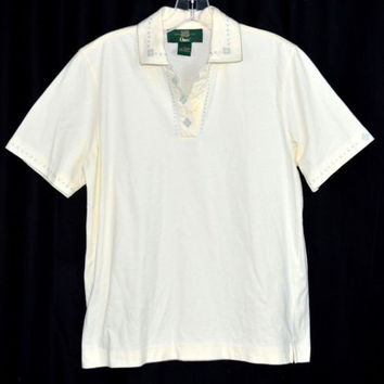 Orvis Top Size Small Embroidered Collar Beige Cotton blend
