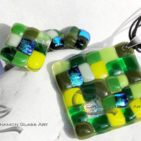 Green mosaic glass jewellry set